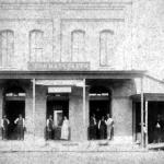 The first Hackbarth Grocery built in 1880 at the corner of Main and Front Streets. This was Sealy's first brick commercial building and was torn down in the early 1900s to make way for the Hackbarth's new store.