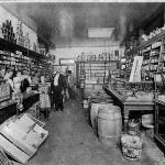 Interior of the grocery side of the Hackbarth mercantile store that was constructed in the early 1900s on the northwest corner of Main and Front Streets.