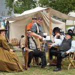 Reenactors taking a moment to relax.